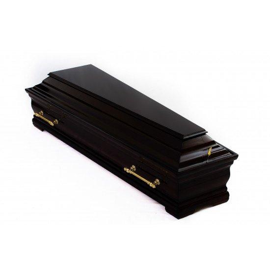 Гроб лакированный черный с золотыми ручками 2