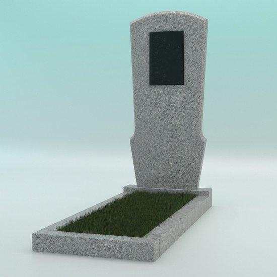 Памятник из гранита фигурный светло-серый G-603 JD-23 с плиткой 900-450-50