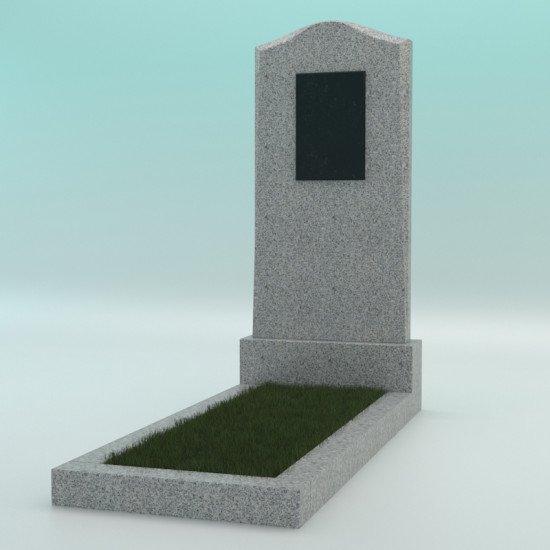 Памятник из гранита фигурный светло-серый G-603 JD-2 с плиткой 900-400-50