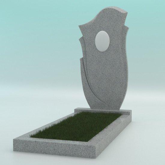 Памятник из гранита фигурный светло-серый с фотокерамикой G-603 FZ-47 900-450-50