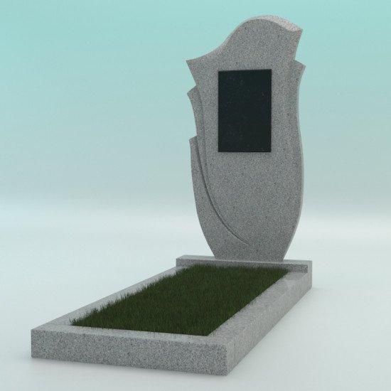 Памятник из гранита фигурный светло-серый G-603 FZ-47 с плиткой 900-450-50