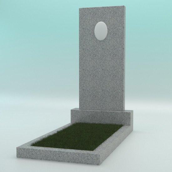 Памятник из гранита прямой светло-серый с фотокерамикой G-603 1000-450-70