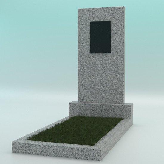 Памятник из гранита прямой светло-серый G-603 с плиткой 900-450-50