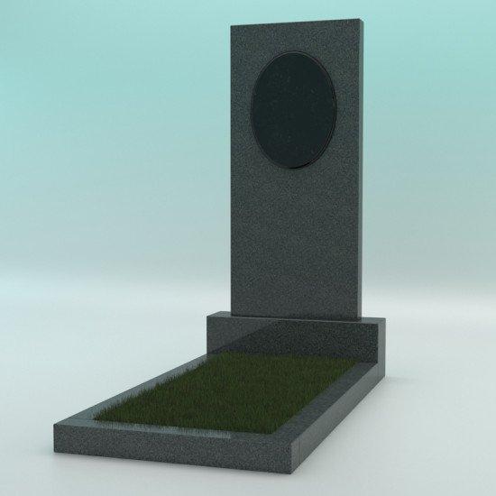 Памятник из гранита тёмно-серый прямой с плиткой 1000-450-70