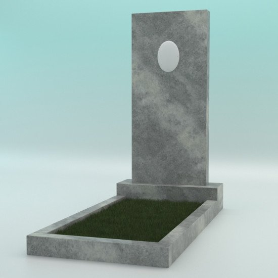 Памятник мраморный прямой серый с фотокерамикой 1000-450-80