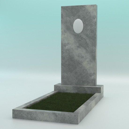Памятник мраморный прямой серый с фотокерамикой 1200-450-80