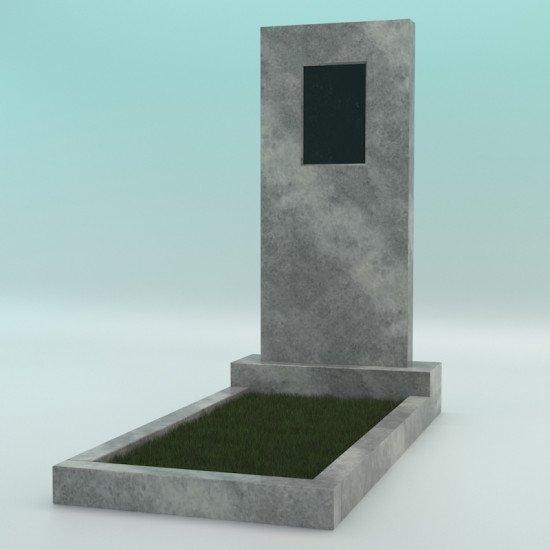 Памятник мраморный серый с фаской с плиткой 1200-450-80