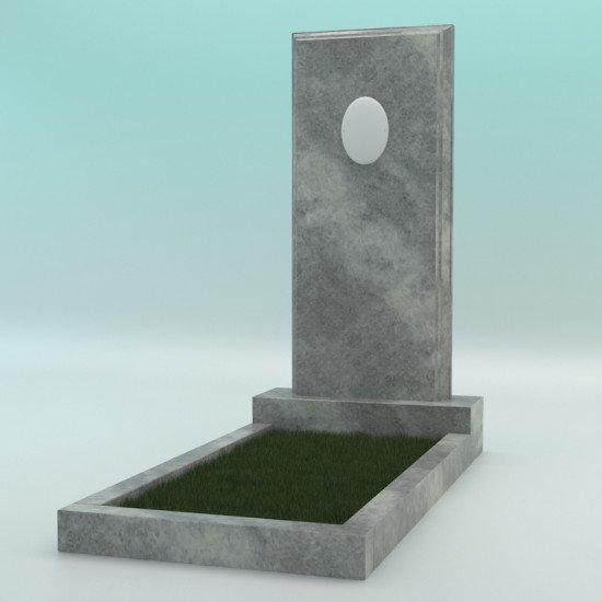 Памятник мраморный прямой серый с фаской с фотокерамикой 1200-450-80