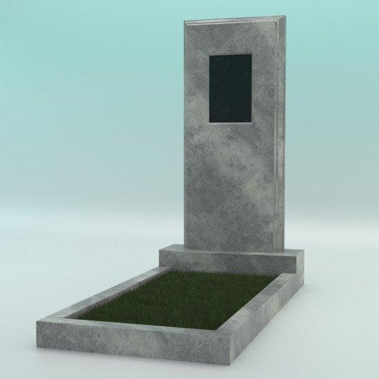 Памятник мраморный серый с фаской с плиткой 1100-450-80