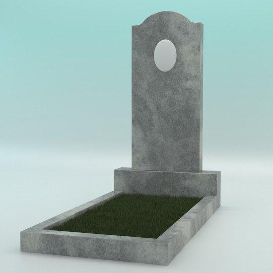Памятник мраморный серый с плечиками с фотокерамикой 900-400-80