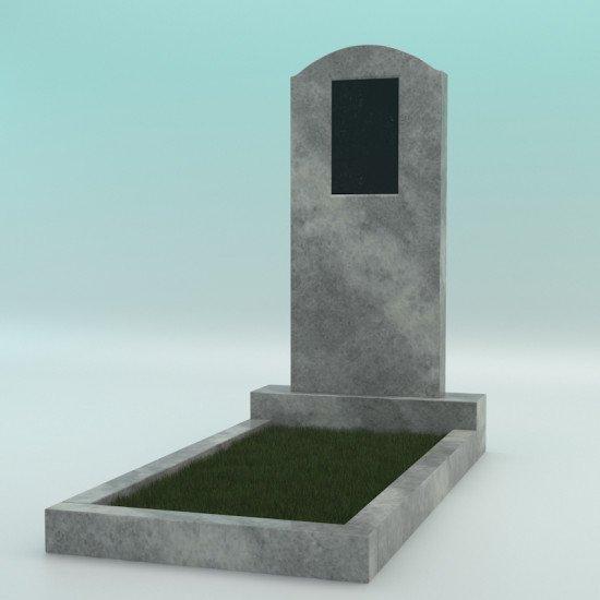 Памятник мраморный серый с плечиками с плиткой 900-400-80